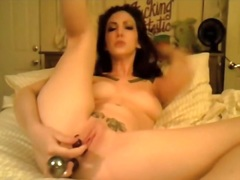 Tattooed slender gal toying her wazoo and bawdy cleft