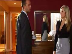 جنس: جوارب طويلة, شقراوات, في المكتب, صدور عالية